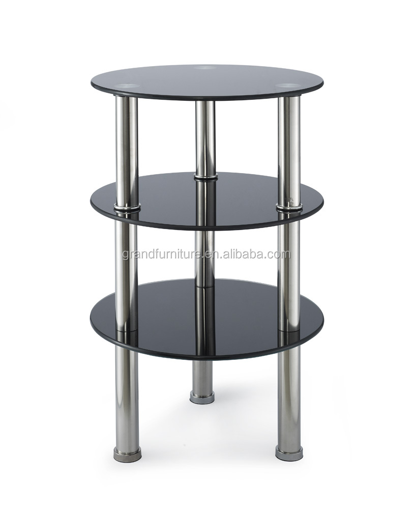 Three-tier glass furniture round side table