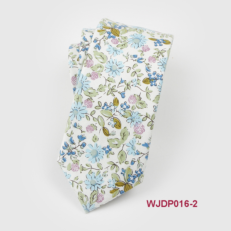 Hot Sale Floral Ties Men Skinny Tie Cotton Print Necktie