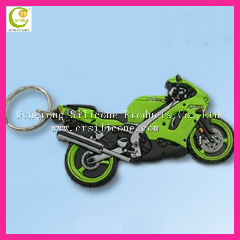 2014 colorful fashion promotional motorcycle pvc keychain,wholesale silicone keyring in custom design