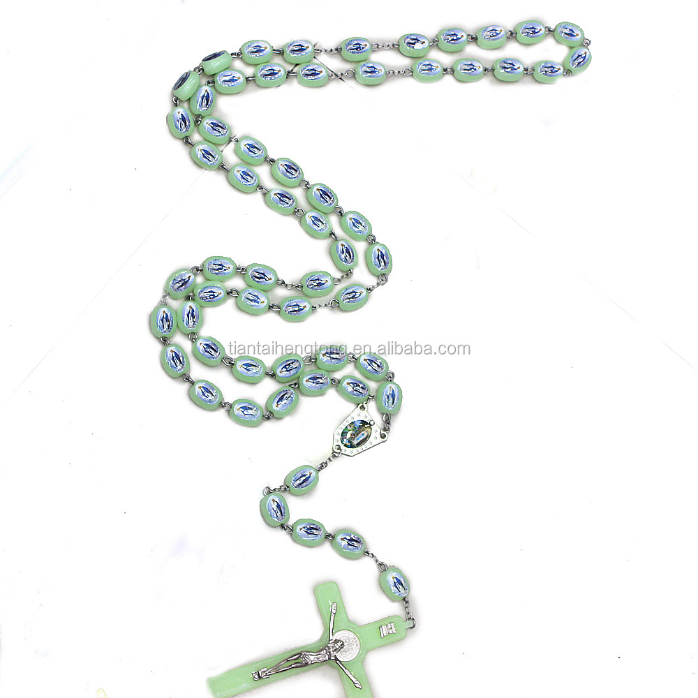 huge plastic Luminous wall rosary cross pendant necklace glow in the dark double sides with our lady of Grace