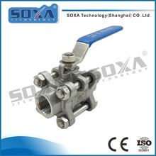 304 stainless steel self closing Female Threaded 3 piece ball valve manufacture