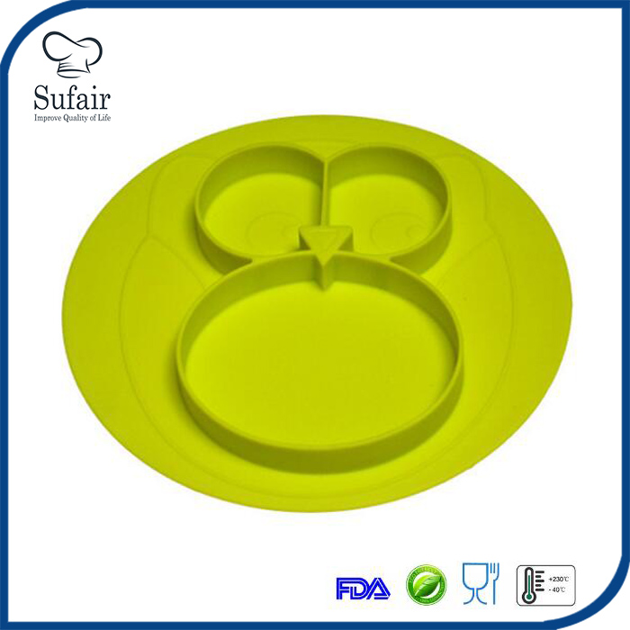 3 compartment kids plate place mats suctions to table silicone baby placemat