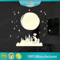 Glow in the dark wall sticker full moon cat design self adhesive home decor
