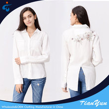 2018 latest design good quality wholesale casual fancy white blouse for ladies