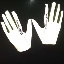 China manfacturer customized white glow in the dark reflective glove safety for eletrombile