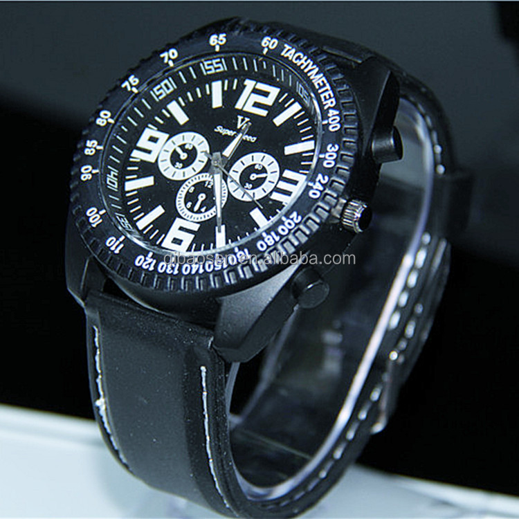 Cheap promotion man watch with leather