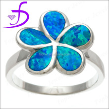 925 silver flower shape opal ring wholesale rhodium plated jewelry