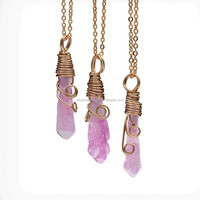 9 units Rainbow Wholesale Handmade wrapped Wire Raw natural Amethyst Rose Quartz GEM Crystal Stone Women necklaces