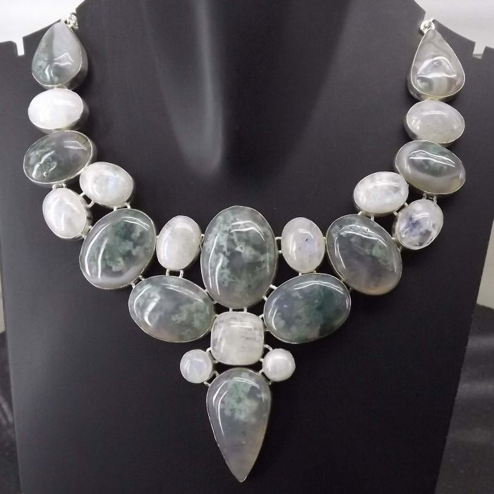 Moss Agate, Rainbow Moonstone Necklace plated 925 Sterling Silver 111 Gms 18-20 Inches