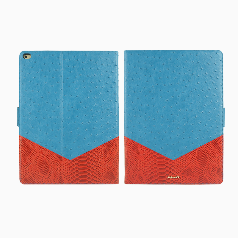 Fashion design leather tablet case /embossed Ostrich&Snake pattern/ chic style tablet for ipad pro