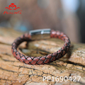 Fashion handmade men bracelet leather hand knitting bangle with stainless steel magnetic