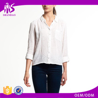 2017 Guangzhou Shandao Custom Elegant Autumn New White Cotton Long Sleeve Loose Ladies Blouse Collar Design