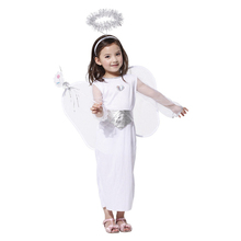 Lovely Girls White Angel Costumes With Halo And Wings For Party