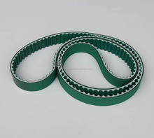 white color endless / opend end PU timing belt with steel / nylon cord with green fabric coated for textile machine