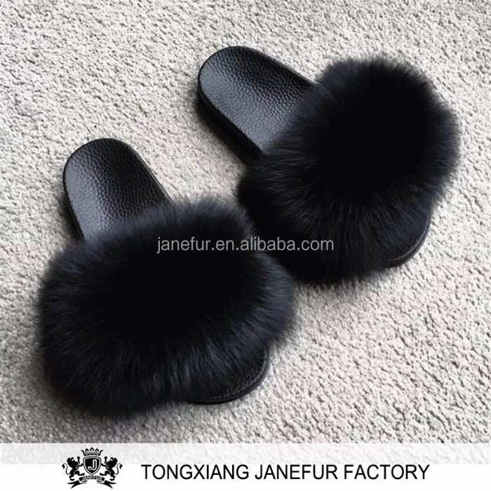 New design lady fox fur pvc slide sandals women real fur slipper