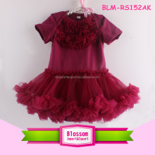 Fashion wine short sleeve cotton baby bodysuit chiffon ruffle baby tutu romper with skirt