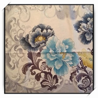 Silver Crisp Printing Flower Design Velboa for Home Upholstery
