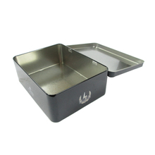 Custiom black rectangular packaging box cookie metal tin box with hinged lid