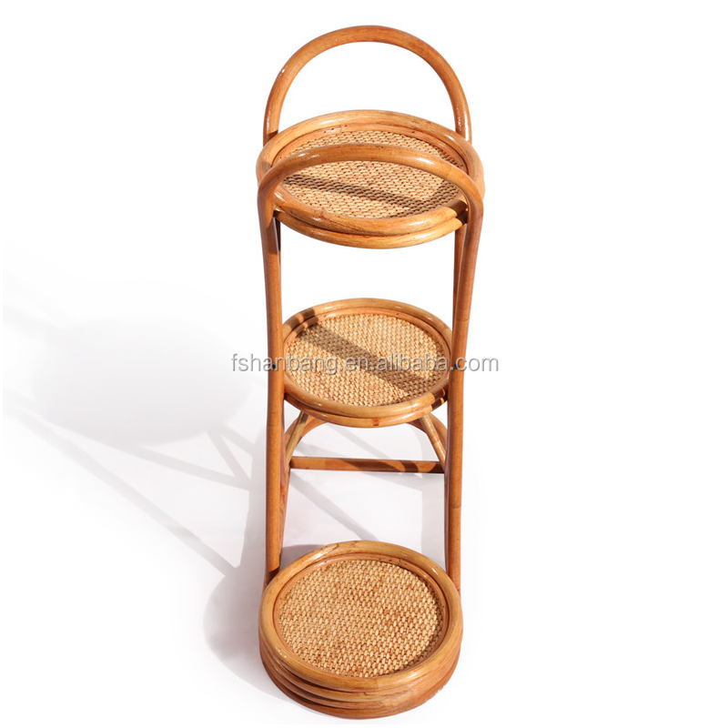 High Quality Rattan Wooden Plant Stand Indoor Furniture Flower Pot Stand