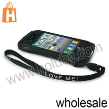 For iPhone 4/4S LOVE MEI Aluminum Bumper Case, For iPhone 4 4S Hybrid Metal Hard Case with Strap