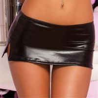 MOON BUNNY Free Shipping Sexy Black PVC Wet Look Faux Latex Micro Mini Skirt with G-String Party Club Stripper Fetish Exotic Pol