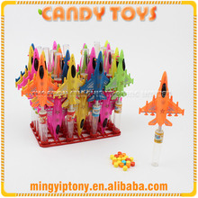 Wholesale cheap price plastic fighter plane toy candy for children