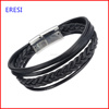 Fashion Stainless Steel Bracelet Handmade Leather Rope Bracelet Newest Costume Jewelry