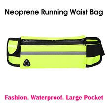 Factory Wholesale In Stock Safety Reflective Strip Neoprene Fitness Fanny Pack Waist Belt Bag Adjustable Running Sport Waist Bag