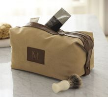 Saddle Leather & Canvas Toiletry Case for men