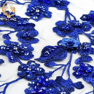 2018 Top End French Lace Royal Blue 3D Embroidered Floral Beaded Tulle Textile 3D Lace Fabric