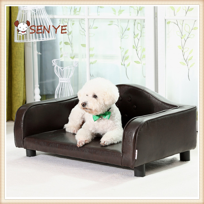 Luxurious Comfortable Super Soft Pet Home Teddy Dog High Grade PU leather Dog Sofa Bed