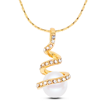 N230 Rhinestone Spiral Pearl Necklace Dainty Jewelry Fashion Necklaces Allergy Free 2017 Ladies Necklaces