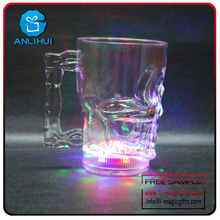 Promotional LED beer mug Skull shape LED bar cups novelty bar glow cup