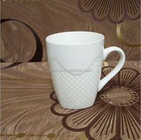 Large wholesale plain white porcelain coffee mug with embossed pattern