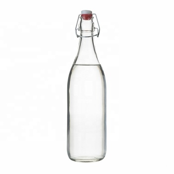 Empty Clear 500ml 1L Round Glass Swing Top Beer Juice Bottle for Beverage