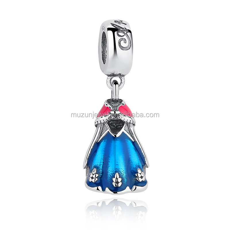 Original 925 Sterling Silver Anna's Blue & Red Dress Charms Fit Bracelet Necklace Jewelry