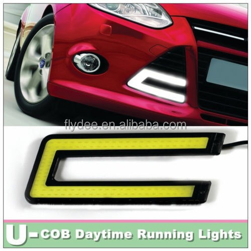 2pcs U Type 10W Daytime Running COB White LED Light DRL Fog Decorative car Lamp
