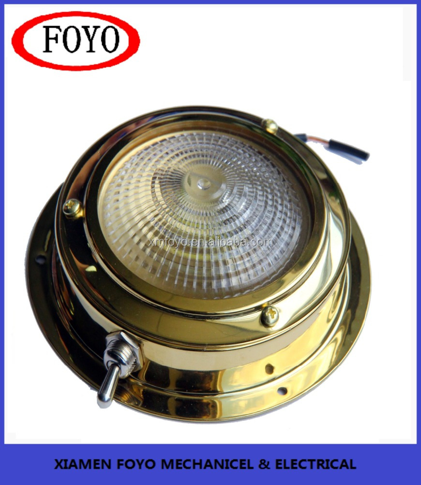 stainless steel Stamped polished brass Dome Light for marine bathroom