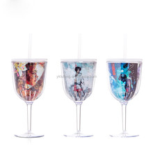hot sale unbreakable colorful plastic wine glass cup