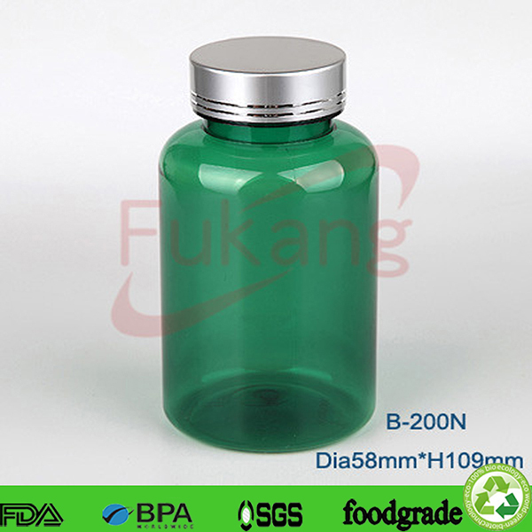 200ml green color PET Plastic vitamin and sex power medicine Bottles empty for sale