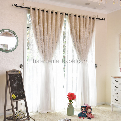 custom made textile lace fabric living room blackout curtain