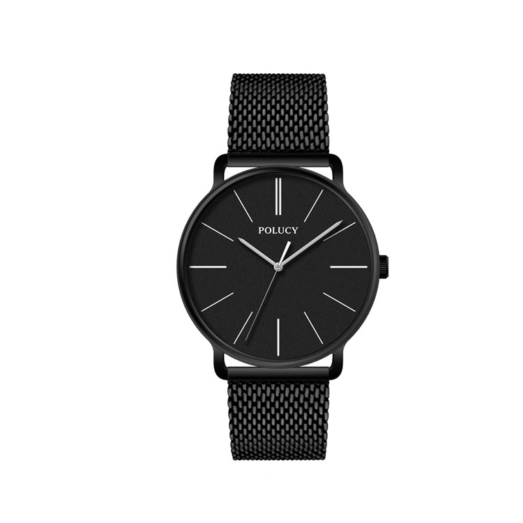 high quality black mesh band strap men watch oem bracelet 316L Stainless Steel Custom private label watches