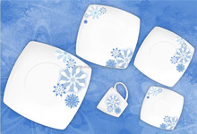 TH4590 Ceramic Porcelain Dinner Plate Square Dish Set Winter holiday dinnerware