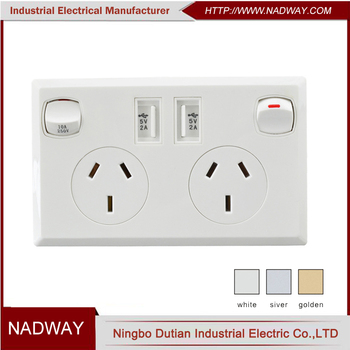 australia SAA twin usb imitation double plug socket wall safe