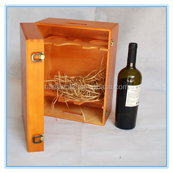 Wooden Wine Box Carrier Crate Case