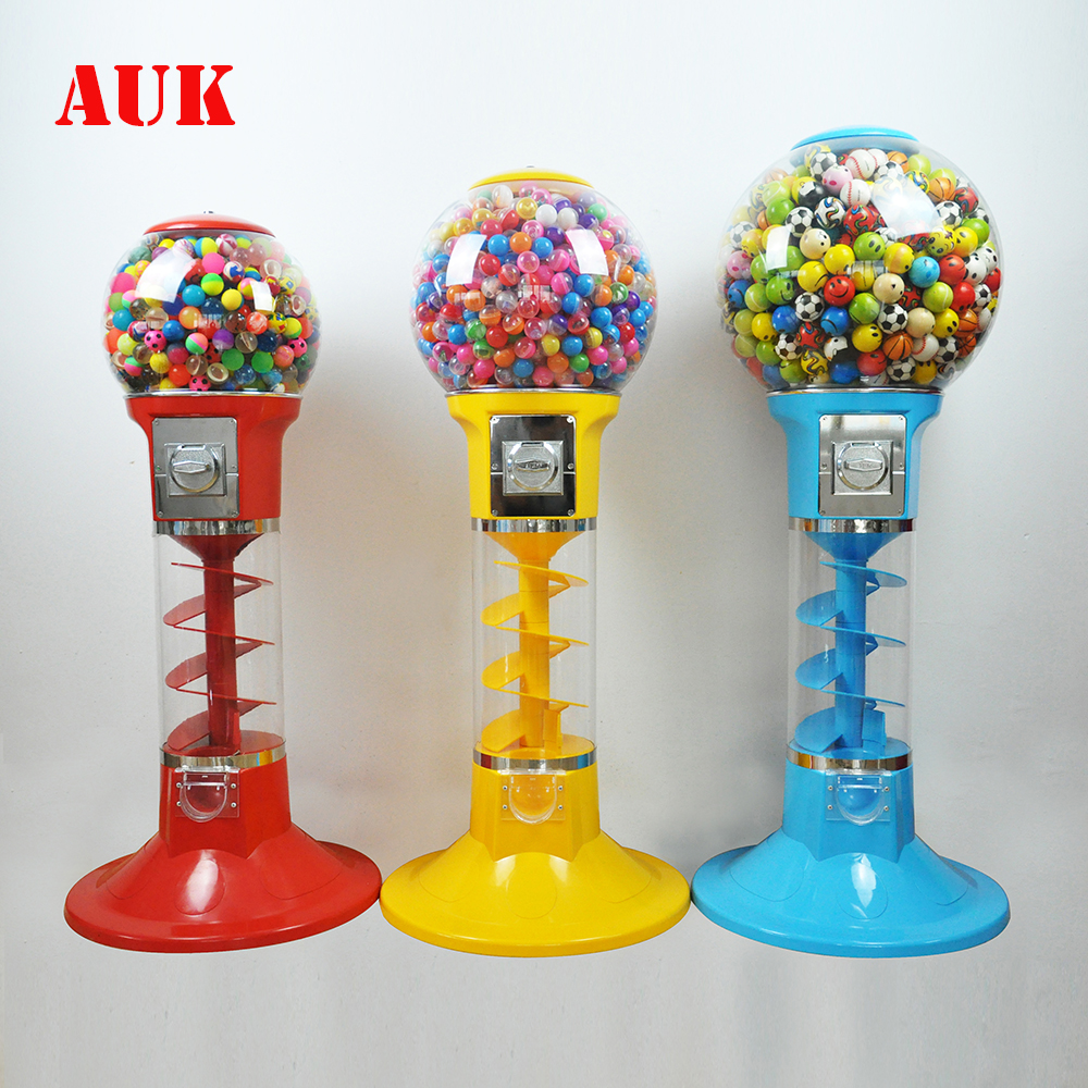 Best seller capsule toys gum gumball candy bouncy ball spiral vending machine for sale