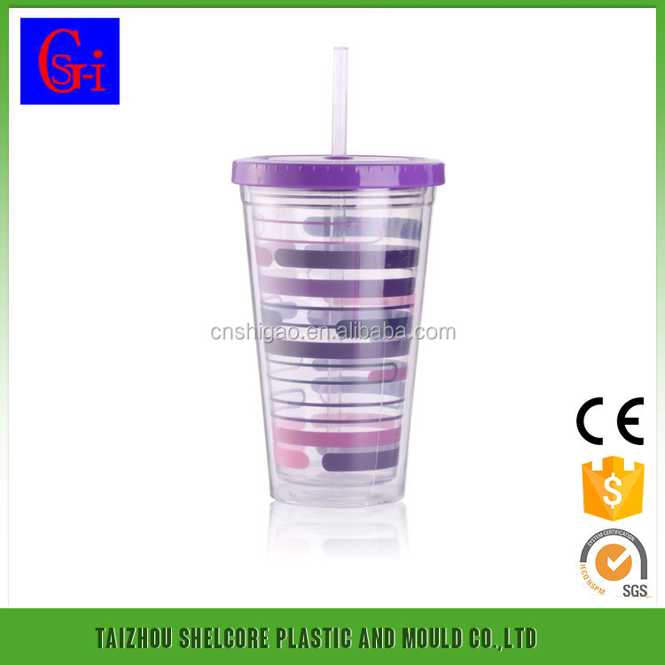 Double Wall Plastic Straw Cup/ hot sale tumbler with straw