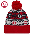 Color-contrasting cuff with pom on top beanie ,Knitted hat