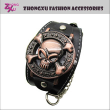 new fashion copper leather man skull watch