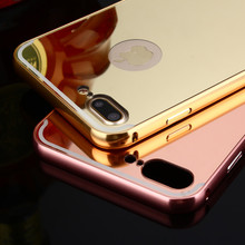 China suppliers fashion aluminum metal hybrid cover mirror phone case for iphone 7 case